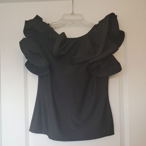 Black ruffled collar top size L stretch material